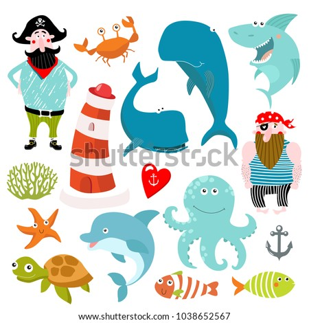 vector marine set cartoon