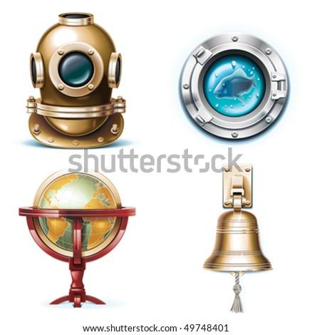 vector marine travel icons....