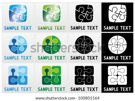 Vector mark collection of jigsaw puzzle pieces with text