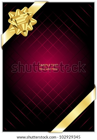 Vector maroon background with gold bow