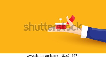vector Marriage proposal horizontal banner. Man hand holding open box with a golden wedding ring and diamond isolated on orange horizontal background Stock photo ©