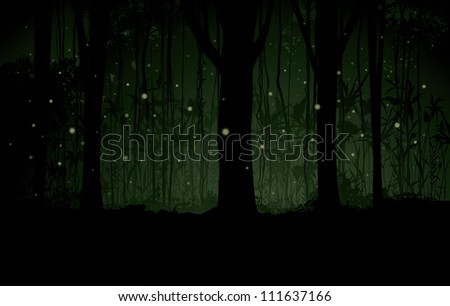 Vector Marsh or Swamp at Night Background Vector illustration of a dimly lit forest marsh or swamp background with a forest of trees, fireflies, stars, vines and botanical detailing.