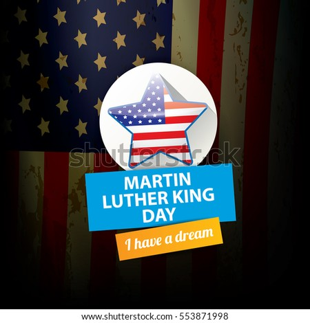 Vector Martin Luther King Jr Day Us Sticker Or Label Martin Luther