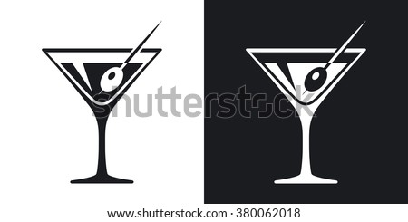 Vector martini glass icon. Two-tone version on black and white background Foto stock ©