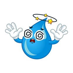 Vector mascot, cartoon, and illustration of a dizzying water drop