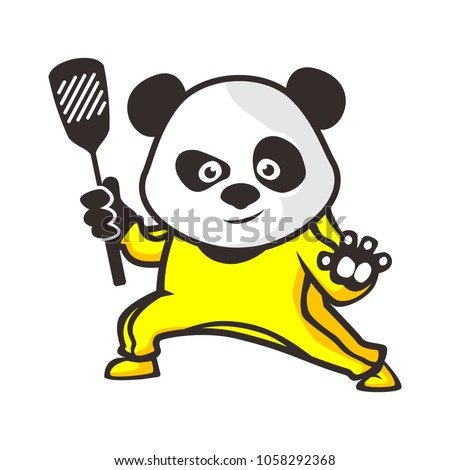 Vector mascot cartoon illustration of a panda kungfu chef.