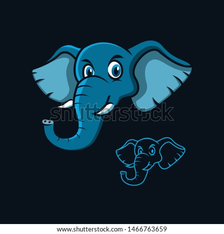 vector mascot elephant   line