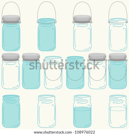 Vector Mason Canning Jars