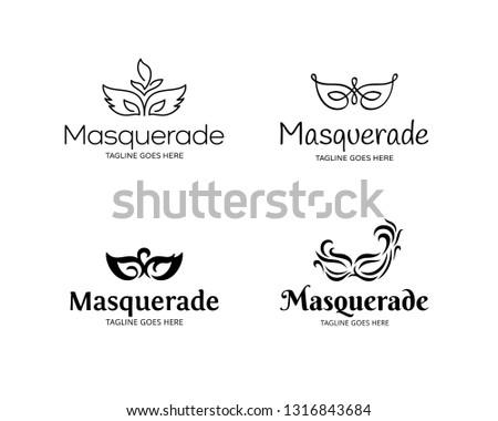 Vector Masquerade logo template set. Festive design concept with mask. Carnival masque party illustration background. Mardi Gras icon symbol collection in black
