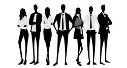 Vector material: silhouettes of people wearing masks, people