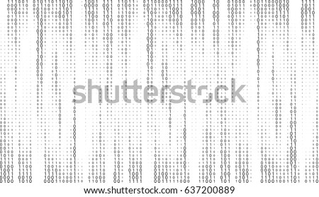 Vector matrix background. Stream of binary code on screen.  Data and technology, decryption and encryption, computer matrix background  numbers 1,0. Coding or Hacker concept.  Vector illustration