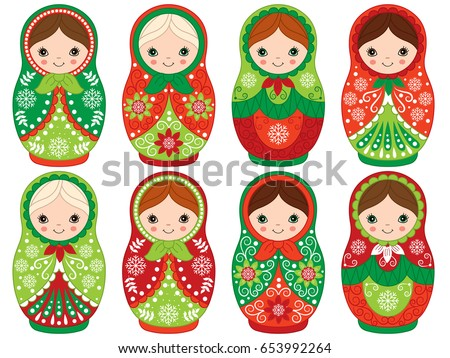 stock-vector-vector-matryoshka-set-in-red-and-green-color-traditional-russian-dolls-vector-russian-nesting