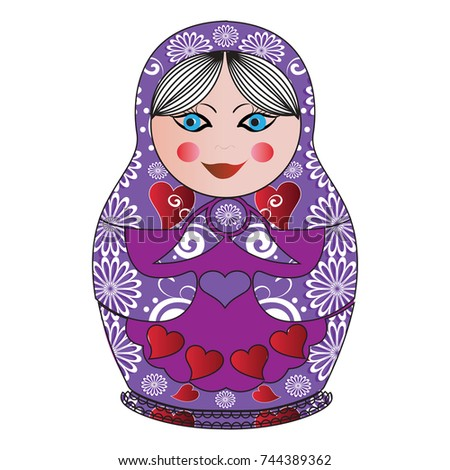 vector matryoshka with vintage