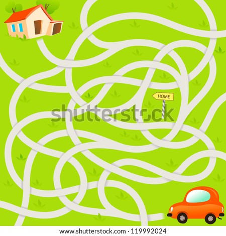 Vector Maze Game with Funny Red Car and Road to House. Vector Illustration