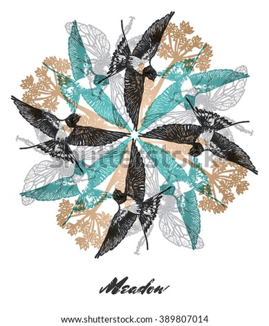 vector meadow mood engraved
