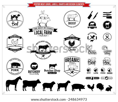 vector meat logos  labels