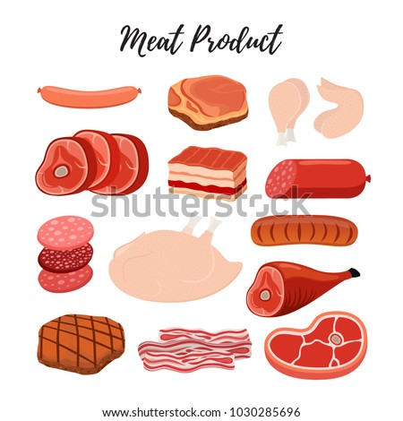 Vector meat products, butcher shop. Beef, sirloin, ham, chicken, jamon, bacon, sausage, frankfurter. Made in cartoon flat style