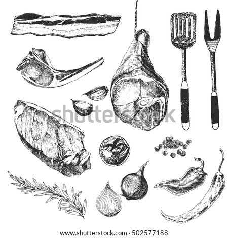 vector meat steak sketch