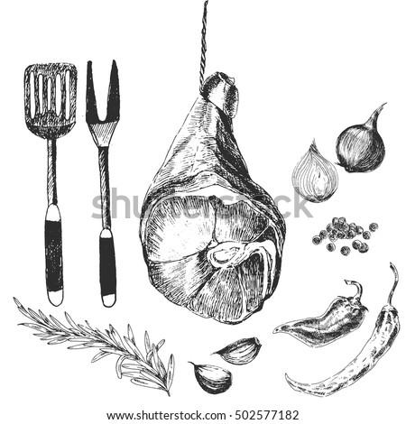 vector meat steak sketch...