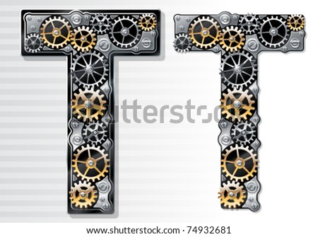 Vector mechanical alphabet of gears. Letter t