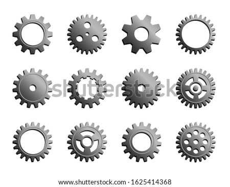 Vector Mechanical Cogwheel Collection. Set Of Silver Gear Wheels And Cogs, Grey Volumetric Icons, Different Configuration, Round Details. Gears Can Be Combined Into Mechanism By Changing Size.