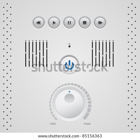 Vector media player elements and buttons isolated