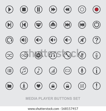 Vector media player icons set. Multimedia. Isolated.