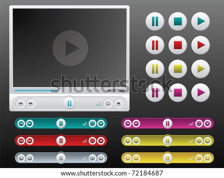 vector media player with extra controls in different colors