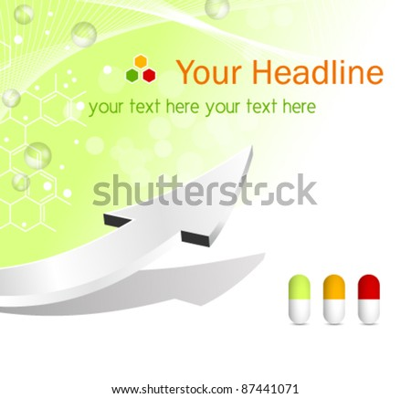 Vector medical background with pills, abstract chemical formula and arrow - healthcare concept