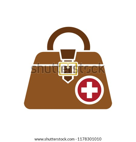 vector medical case sign - insurance symbol - first aid kit, emergency box