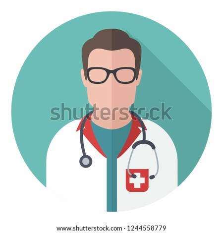 Vector medical icon doctor in glasses. The doctor is a man in uniform and with a stethoscope. Illustration of a doctor in flat style.