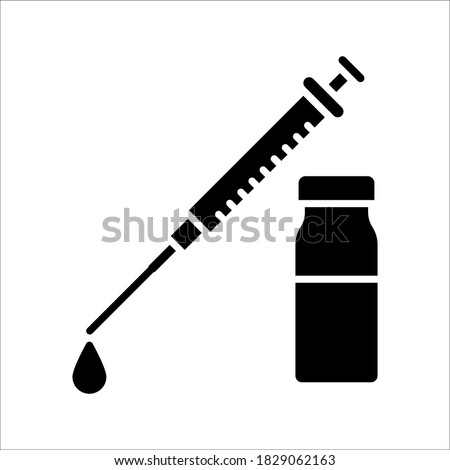 vector medical icon for pandemic vaccine ampoule and syringe. Image of covid-19 vaccine and syringe. Illustration of antiviral vaccine.
