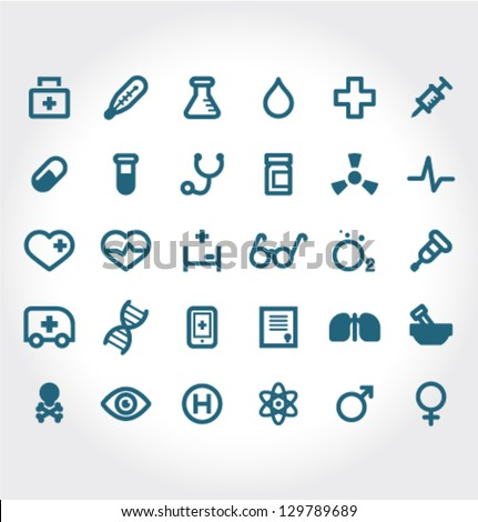 Vector Medical Icons 30 Set