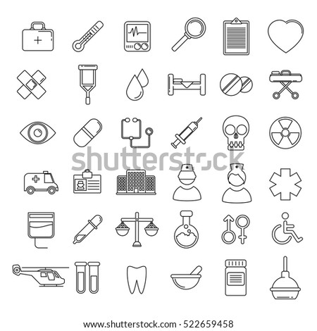 Vector Medical Icons Set. Line vector