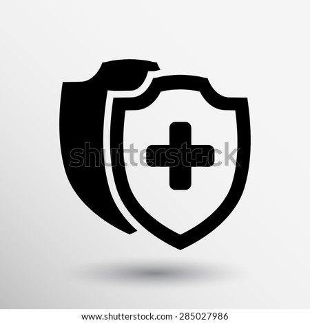 Vector Medical Shield Icon shield flat health cross medical.