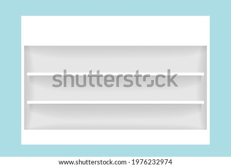 vector medicine cupboard, plank shelf for mock-up display, countertop white color, modern shelf for display show on space wall room Stock photo ©
