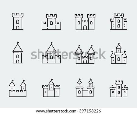 vector medieval castles icon