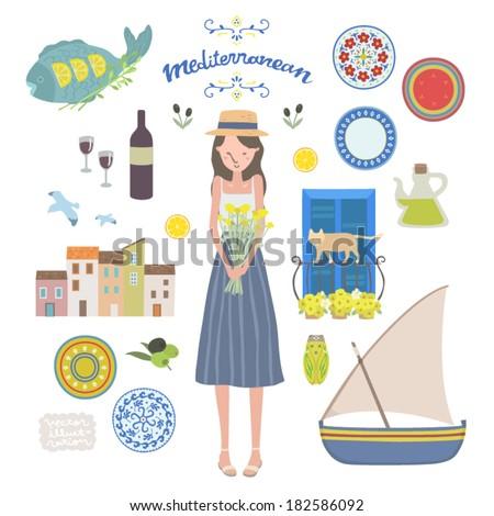 Vector Mediterranean Illustration set