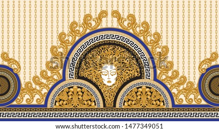 Vector Medusa seamless border print on a beige striped background. Fashionable pattern from gold chains, Baroque fantasy scrolls, Greek meander, acanthus leaves.Scarf, bandana, kerchief, carpet fringe