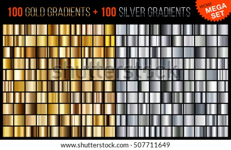 Vector mega set of gradients, consisting of collection 100 gold and 100 silver glossy squares.