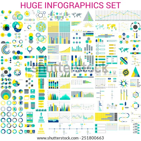Vector mega set of  infographic elements stock photo