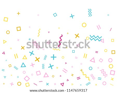 Vector memphis style pink blue confetti on white background. Falling tinsel confetti from minimalistic geometric triangles, zigzag, waves, squares, ribbons. Flat memphis glitter festive decoration.