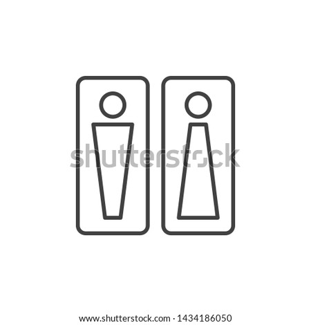 Vector Men and Women Toilet outline icon. WC concept symbol in thin line style #1434186050