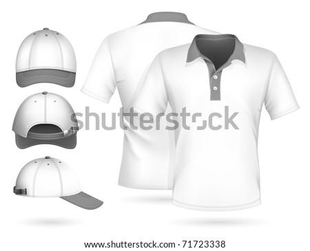 Vector. Men polo shirt design template and baseball cap.