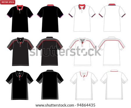 Vector. Men's black and white polo shirt template.