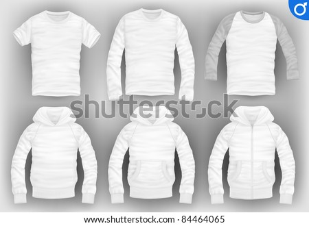 vector men's clothes pack. t-shirt, baseball, long-sleeved, hooded sweatshirt with pockets and zipper