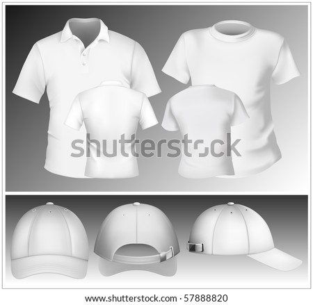 Vector. Men's polo shirt and t-shirt design template and baseball cap.