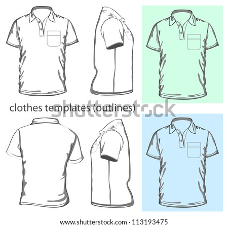 Vector Men's polo-shirt design template wiyh pocket front back and side view Outline