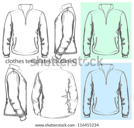 Vector. Men's sweatshirt with zipper and pockets (back, front and side view). Outlines