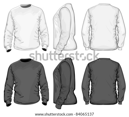 Vector. Men's t-shirt design template (front, back and side view). Long sleeve. No mesh.